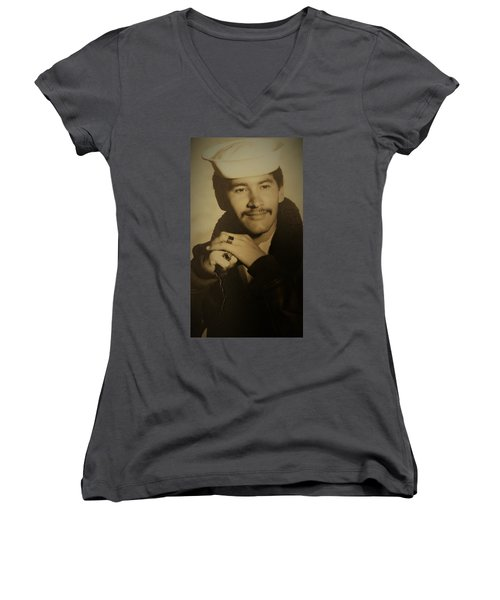 Women's V-Neck T-Shirt (Junior Cut) featuring the photograph Thank You For Your Service by Paul SEQUENCE Ferguson sequence dot net