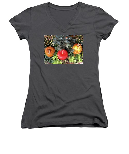 Thanksgiving Women's V-Neck T-Shirt (Junior Cut) by Russell Keating