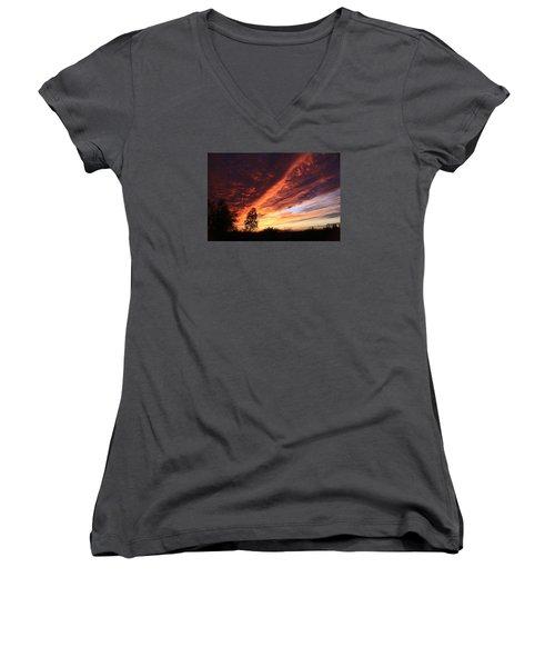 Thanksgiving Sunset Women's V-Neck T-Shirt (Junior Cut) by Gary Kaylor
