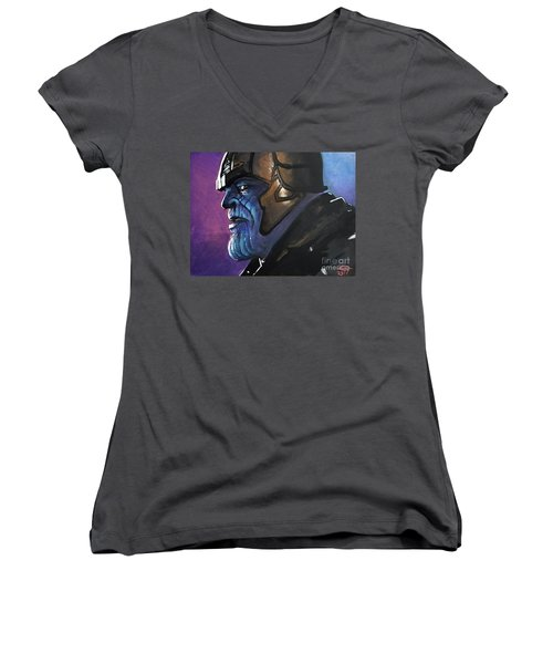 Thanos Women's V-Neck T-Shirt (Junior Cut) by Tom Carlton