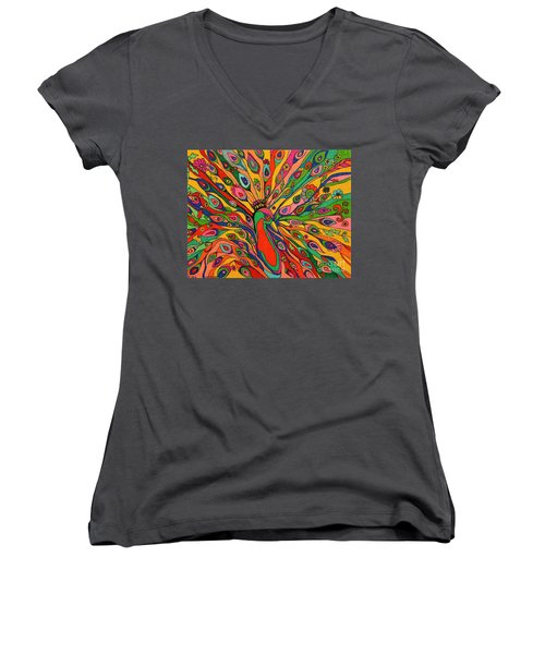 Women's V-Neck T-Shirt (Junior Cut) featuring the painting That Bloomin Peacock by Alison Caltrider