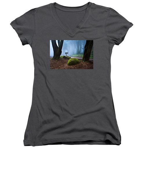 Women's V-Neck T-Shirt (Junior Cut) featuring the photograph That Way by Jorge Maia