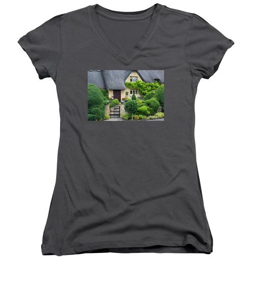 Women's V-Neck T-Shirt (Junior Cut) featuring the photograph Thatch Roof Cottage Home by Brian Jannsen