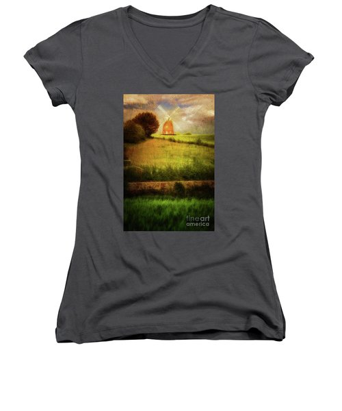 Thaxted Mill Women's V-Neck T-Shirt (Junior Cut) by Jack Torcello
