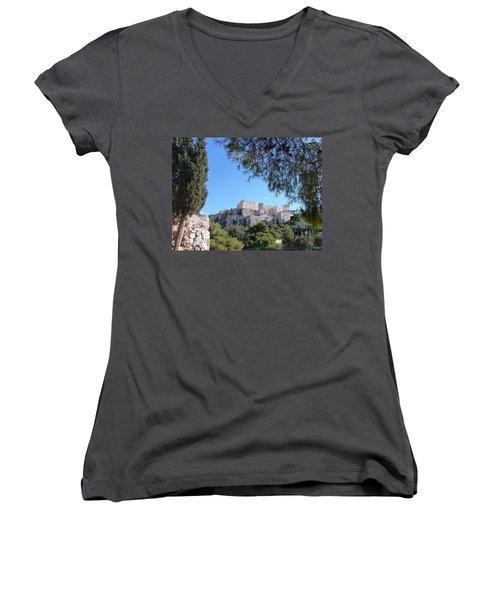 Women's V-Neck T-Shirt (Junior Cut) featuring the photograph The Acropolis by Constance DRESCHER
