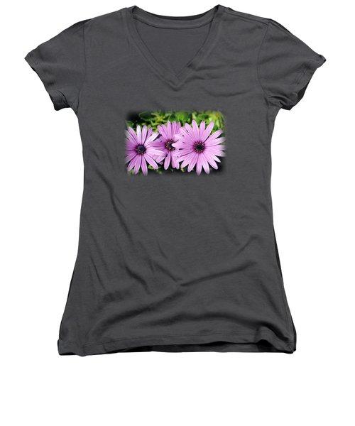 The African Daisy T-shirt 3 Women's V-Neck T-Shirt (Junior Cut) by Isam Awad