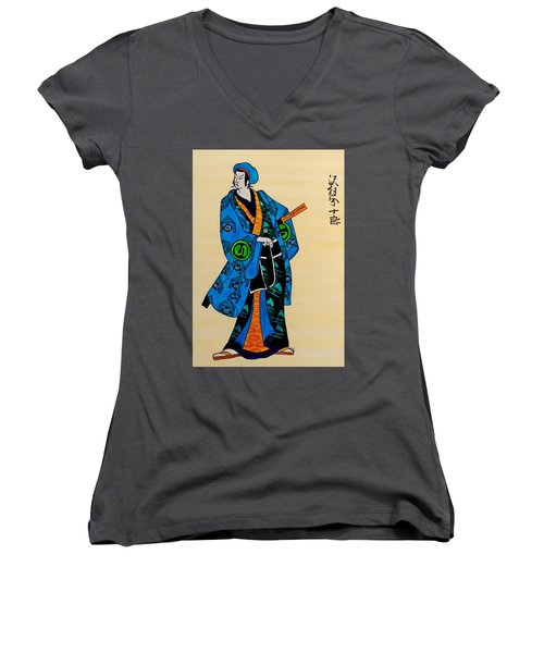 The Age Of The Samurai 03 Women's V-Neck T-Shirt (Junior Cut) by Dora Hathazi Mendes