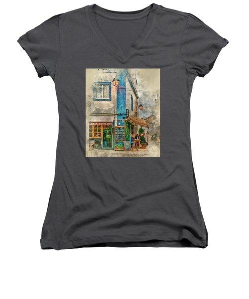 The Albar Coffee Shop In Alvor. Women's V-Neck T-Shirt (Junior Cut) by Brian Tarr