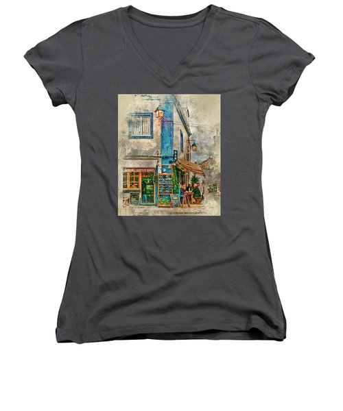 The Albar Coffee Shop In Alvor. Women's V-Neck T-Shirt