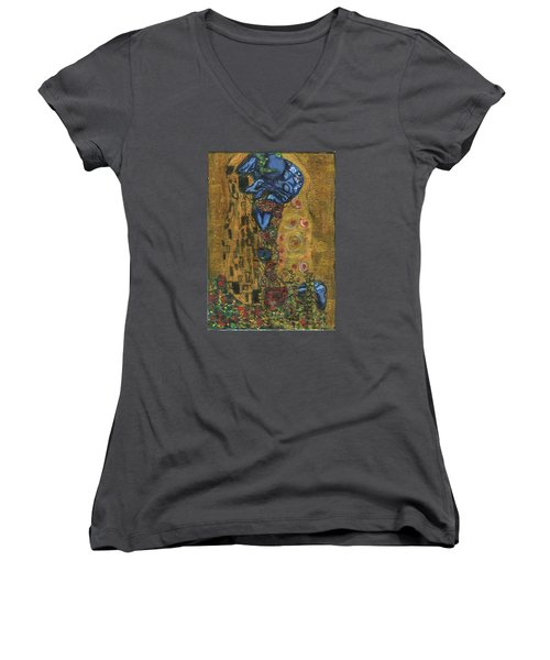 Women's V-Neck T-Shirt (Junior Cut) featuring the painting The Alien Kiss By Blastoff Klimt by Similar Alien
