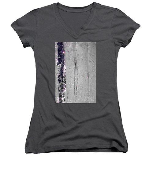 The Wall Of Amethyst Ice  Women's V-Neck T-Shirt (Junior Cut) by Jennifer Lake
