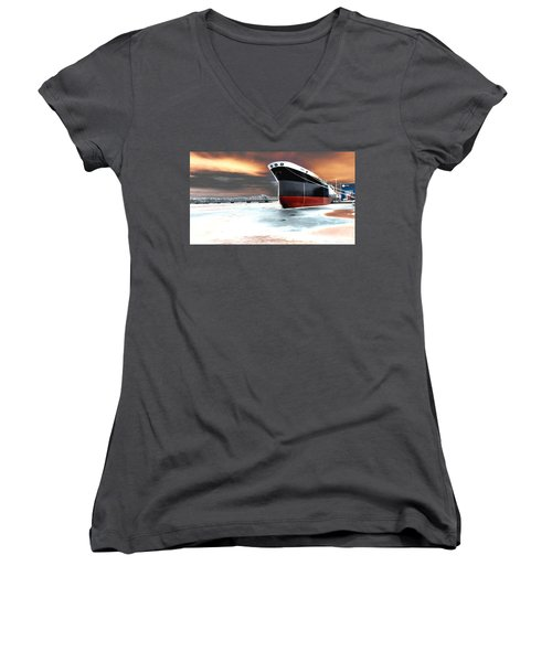 The Ship And The Steel Bridge. Women's V-Neck