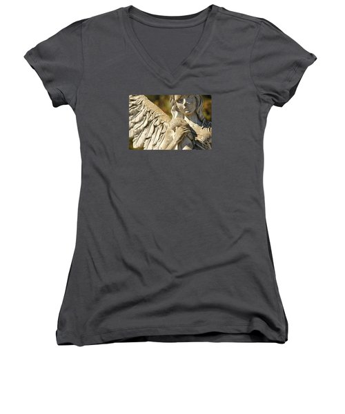 The Angel At St. Thomas Women's V-Neck T-Shirt (Junior Cut) by Lynn Jordan