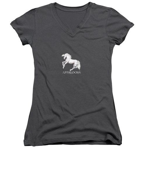 Women's V-Neck featuring the painting The Appaloosa by Valerie Anne Kelly