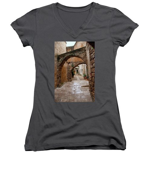 Women's V-Neck T-Shirt (Junior Cut) featuring the photograph The Archways Of Villecroz by Jacqi Elmslie