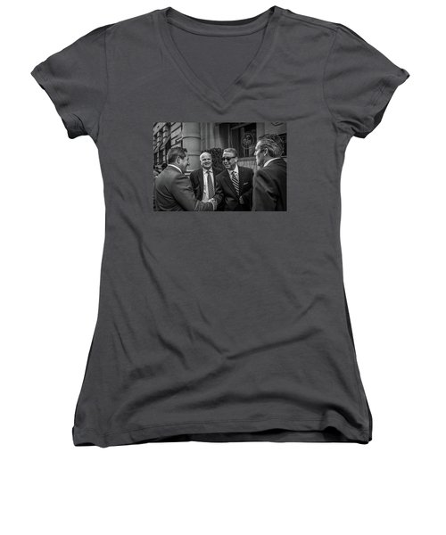 Women's V-Neck T-Shirt (Junior Cut) featuring the photograph The Art Of The Deal by David Sutton