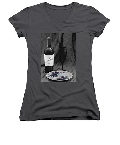 The Art Of Wine And Grapes Women's V-Neck T-Shirt (Junior Cut) by Sherry Hallemeier
