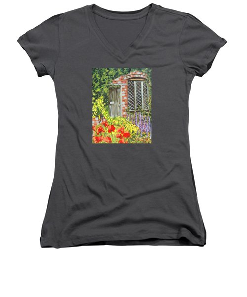 The Artist's Cottage Women's V-Neck T-Shirt (Junior Cut) by Laurie Morgan