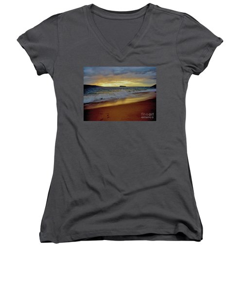 The Aura Of Molokini Women's V-Neck T-Shirt (Junior Cut) by Victor K