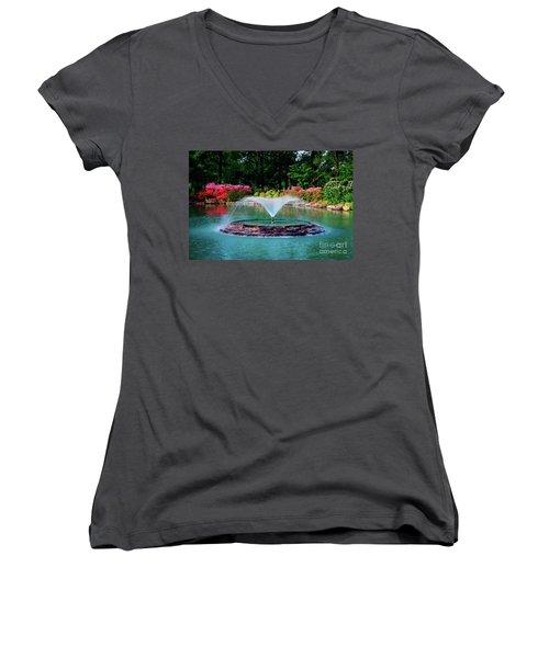 The Azalea Pond At Honor Heights Park Women's V-Neck T-Shirt