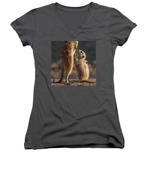 The Baby Is Hungry Women's V-Neck T-Shirt (Junior Cut) by Happy Home Artistry