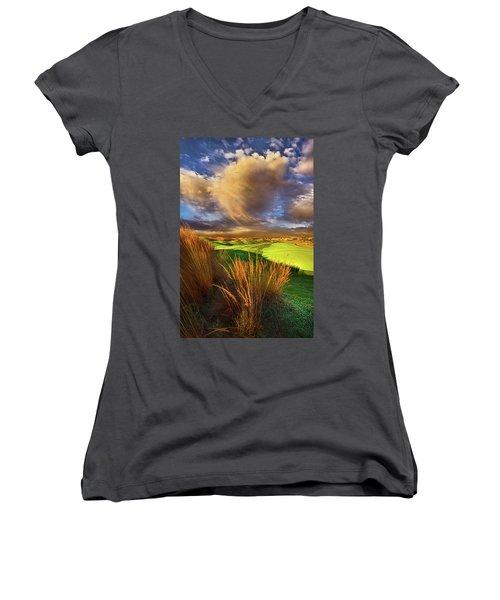 The Back Nine Women's V-Neck T-Shirt (Junior Cut) by Phil Koch