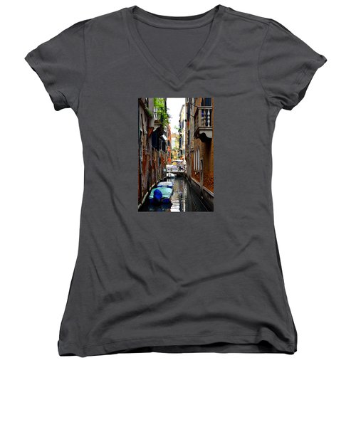 Women's V-Neck T-Shirt (Junior Cut) featuring the photograph The Balcony by Richard Ortolano