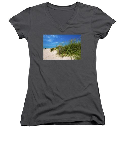 Women's V-Neck T-Shirt (Junior Cut) featuring the photograph The Beach At Pine Knoll Shores by John Harding