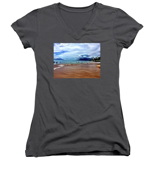 Women's V-Neck T-Shirt (Junior Cut) featuring the photograph The Beach by Michael Albright