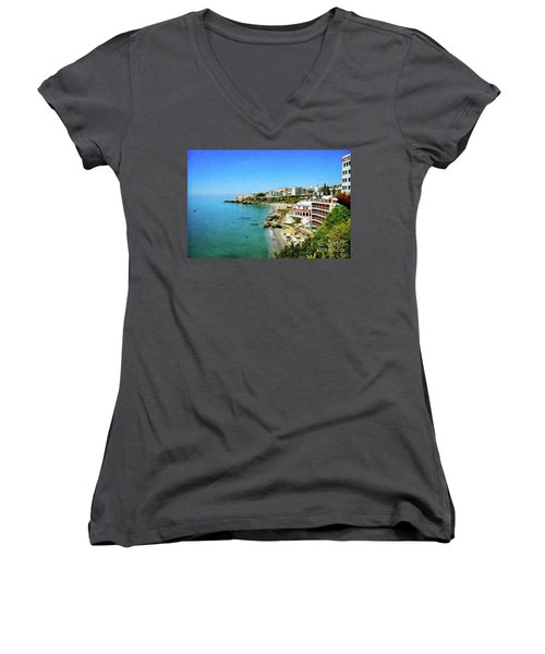 Women's V-Neck T-Shirt (Junior Cut) featuring the photograph The Beach - Nerja Spain by Mary Machare