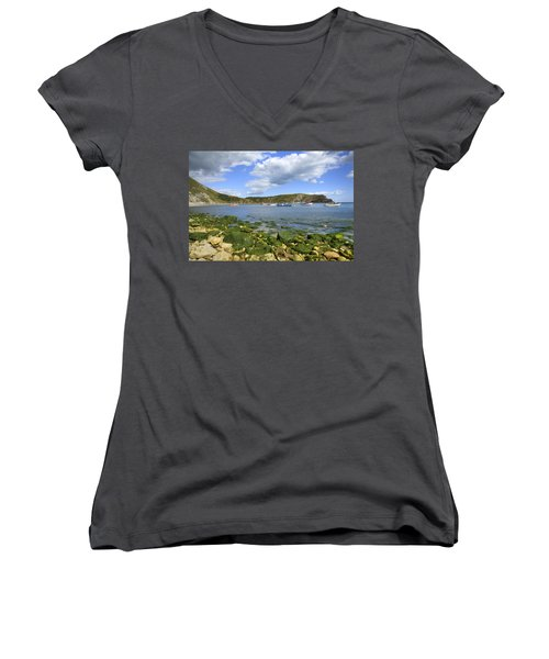 Women's V-Neck T-Shirt (Junior Cut) featuring the photograph The Beauty Of Lulworth Cove by Ian Middleton