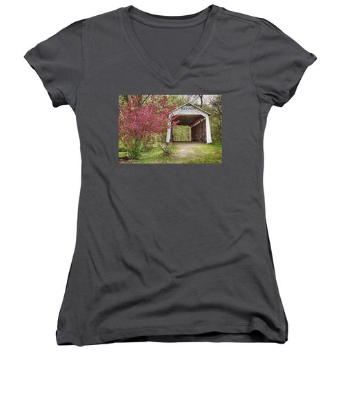 The Beeson Covered Bridge Women's V-Neck T-Shirt (Junior Cut) by Harold Rau