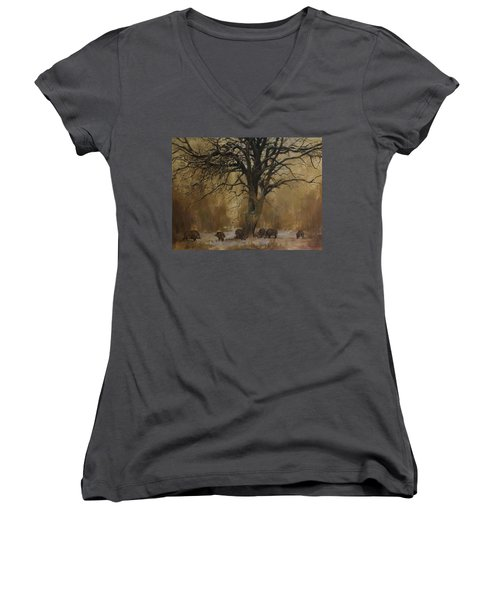 The Big Tree With Wild Boars Women's V-Neck