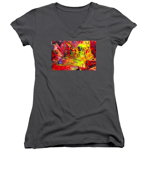 The Birth Of Diamonds - Abstract Colorful Mixed Media Painting Women's V-Neck T-Shirt (Junior Cut) by Modern Art Prints