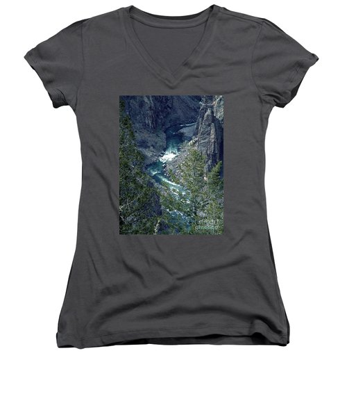 The Black Canyon Of The Gunnison Women's V-Neck T-Shirt (Junior Cut) by RC DeWinter