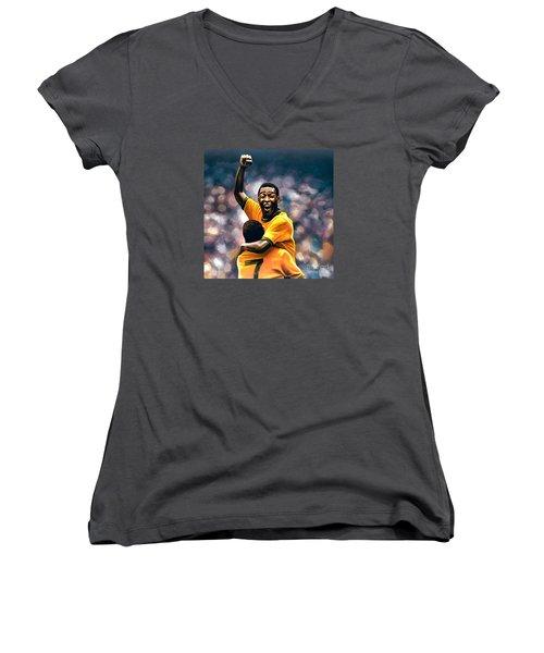 The Black Pearl Pele  Women's V-Neck T-Shirt (Junior Cut) by Paul Meijering