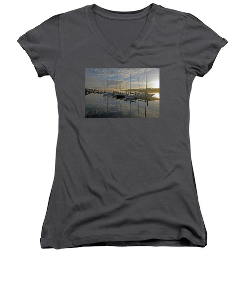 The Blue And Beyond Women's V-Neck T-Shirt (Junior Cut) by Suzy Piatt