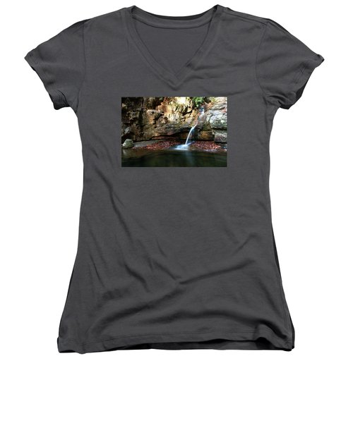 The Blue Hole In November #2 Women's V-Neck T-Shirt (Junior Cut) by Jeff Severson