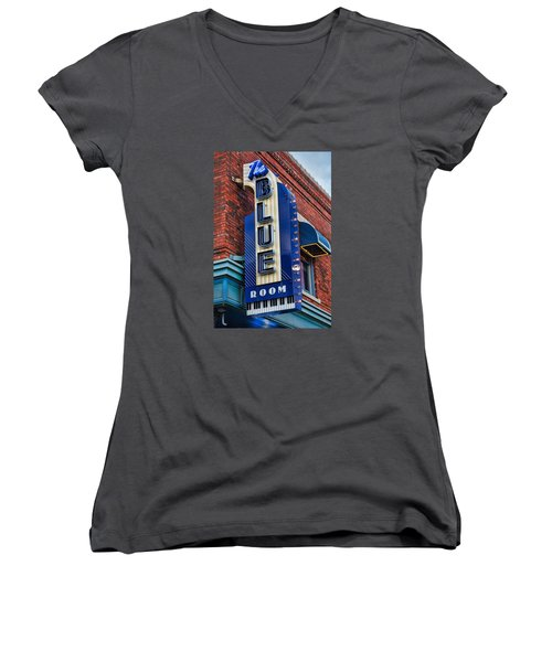 The Blue Room Sign Women's V-Neck T-Shirt (Junior Cut) by Steven Bateson