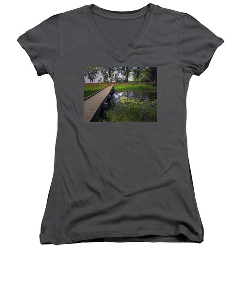 The Boardwalk Women's V-Neck T-Shirt (Junior Cut) by Cedric Hampton