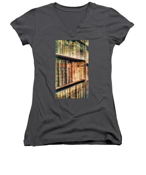 The Bookcase Women's V-Neck T-Shirt (Junior Cut) by Isabella F Abbie Shores FRSA