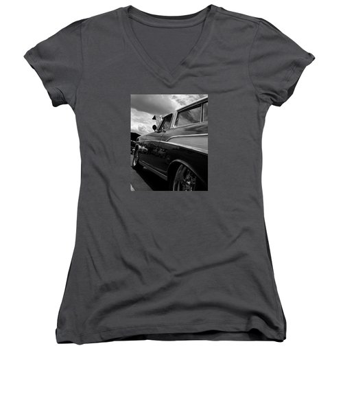 The Bowtie Women's V-Neck T-Shirt (Junior Cut) by Steve Godleski