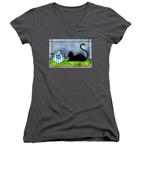 The Box Is Mine - Christmas Cat Women's V-Neck (Athletic Fit)