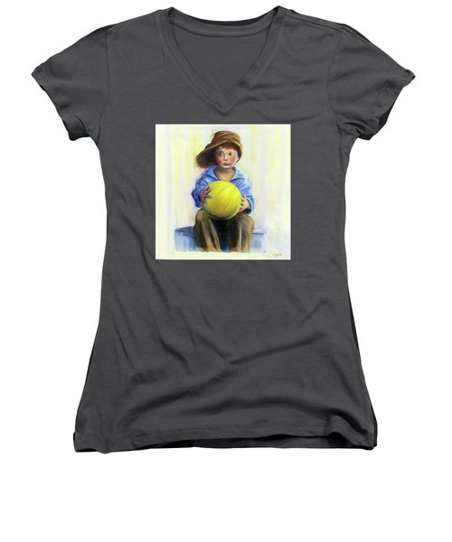 The Boy With The Ball Women's V-Neck T-Shirt