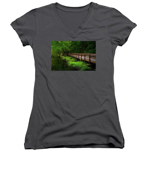 Women's V-Neck T-Shirt (Junior Cut) featuring the photograph The Bridge At Wolfe Park by Karol Livote