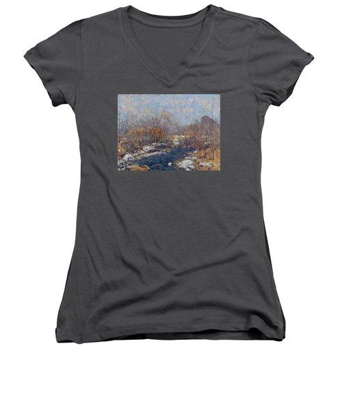 The Bridge  Garfield Park  By William J  Forsyth Women's V-Neck