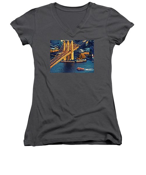 Women's V-Neck T-Shirt (Junior Cut) featuring the photograph The Brooklyn Bridge At Sunset   by Sarah Loft