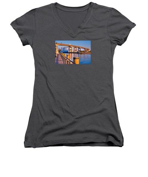 The Buffalo Skyway Women's V-Neck T-Shirt (Junior Cut) by Don Nieman