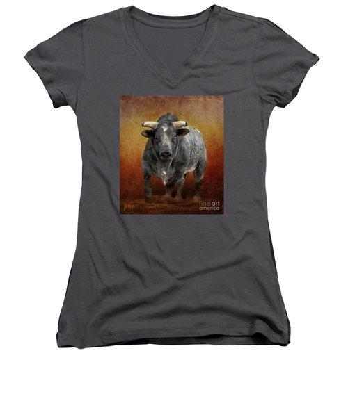 The Bull Women's V-Neck T-Shirt (Junior Cut) by Jim  Hatch