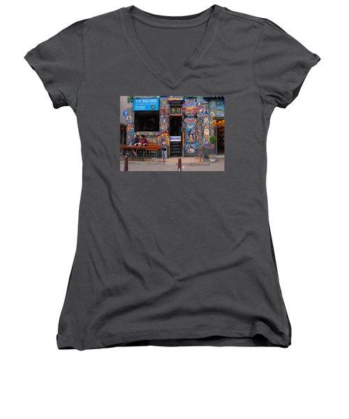 The Bulldog Of Amsterdam Women's V-Neck T-Shirt (Junior Cut) by Allen Beatty